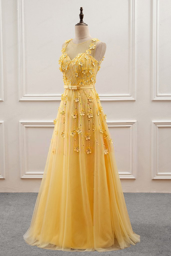 Charming Yellow Tulle with Lace Flowers Long Prom Dress, Yellow Formal Dress