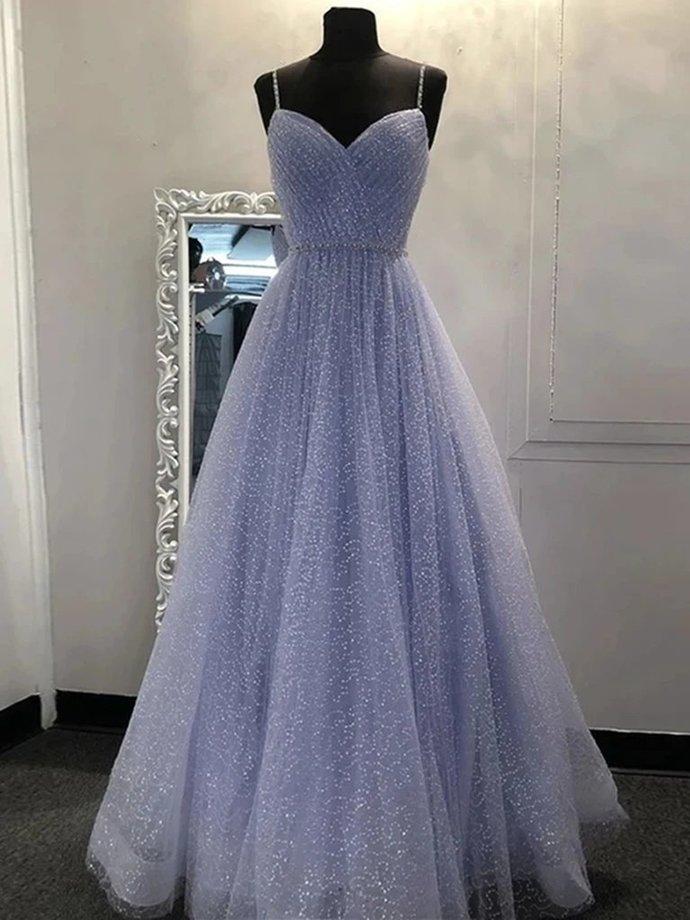 Lavenderv V Neck Shiny Tulle Prom Dresses, Tulle Long Formal Evening Dresses