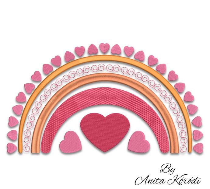 Boho rainbow embroidery design machine love instant download digital machine