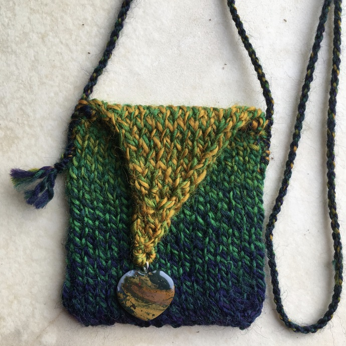 """Nuance"" - a lovely wool, hand knitted Spirit Pouch"
