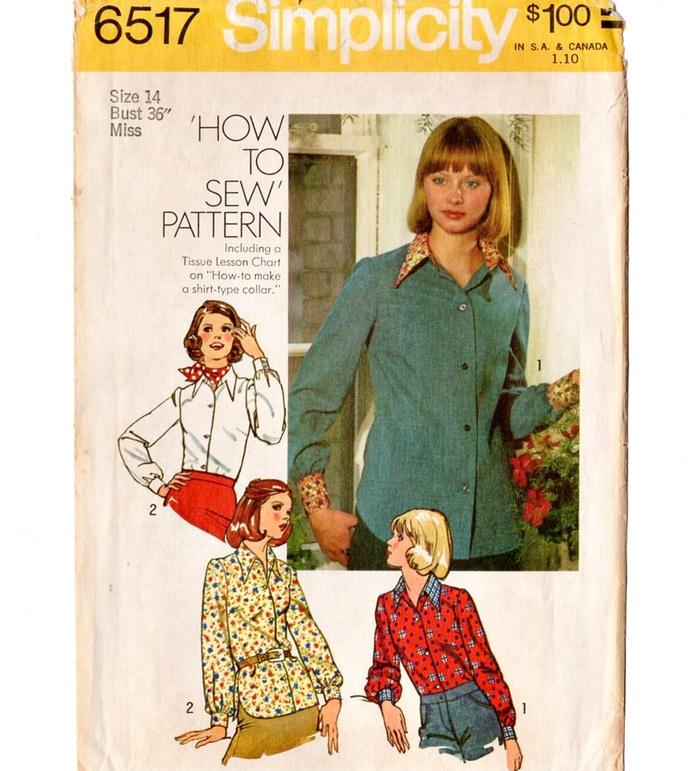 Simplicity 6517 Misses Blouse 70s Vintage Sewing Pattern Uncut Size 14 Bust 36