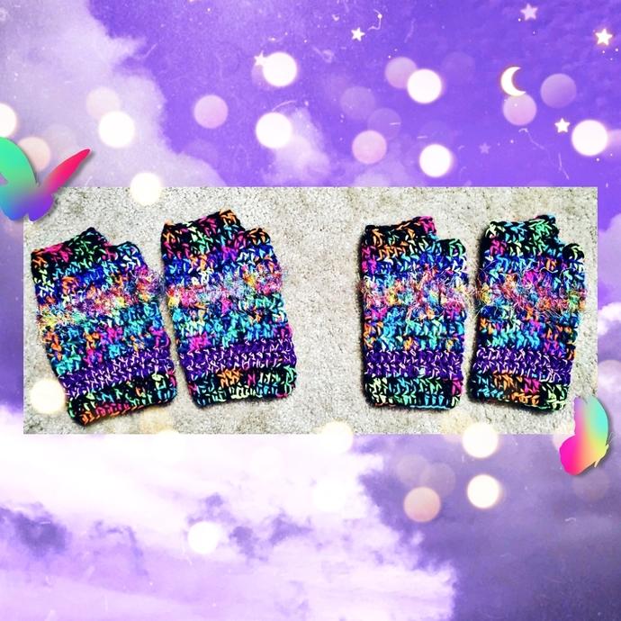 Blacklight Crochet Handwarmers