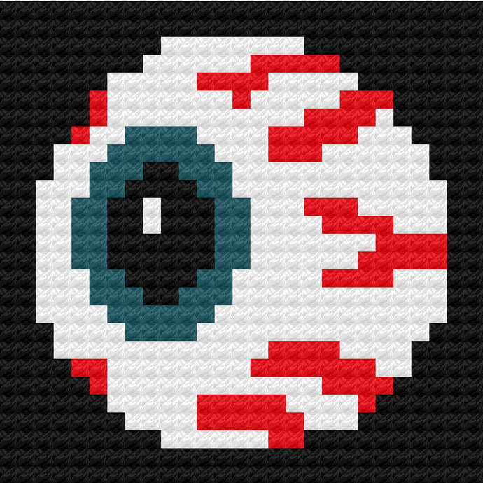 Prying Eye Eyeball C2C Crochet Pattern Panel Graph Color Block Directions 27x27