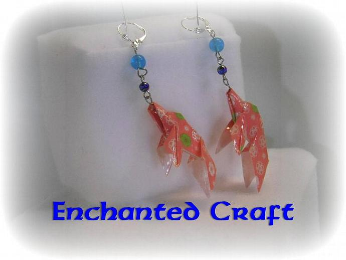 Coral and white Origami Goldfish Earrings