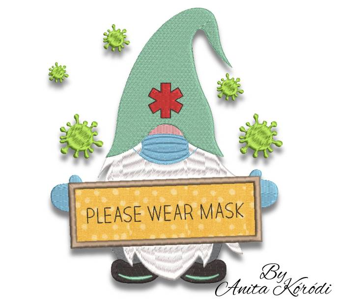 Medical gnome embroidery machine designs pes instant digital download pattern