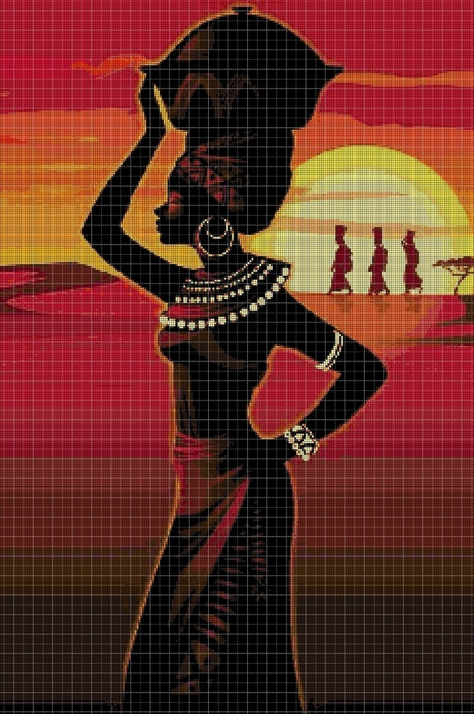 African women cross stitch pattern DMC