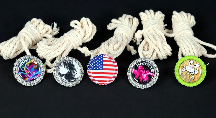 Set of Five Bottle-Cap Buttons for Throw-Tops