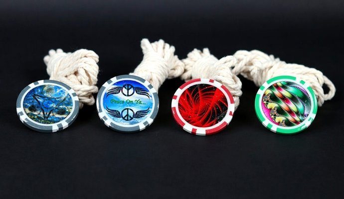 Set of Four Poker Chip Buttons for Throw-Tops