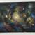 Space nebula original small acrylic painting sparkling glitter