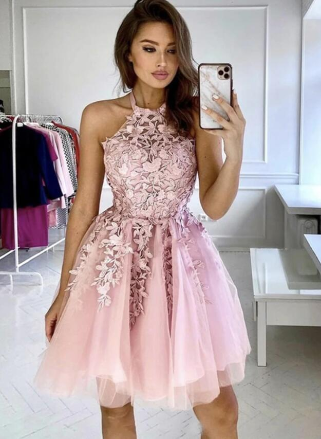 Pink Halter Flowers Tulle Knee Length Party Dress, Pink Homecoming Dress