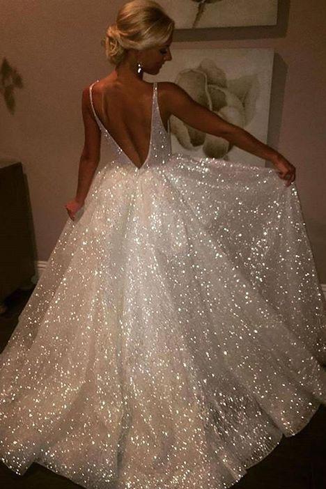 Shiny A-line V neck White Long Prom Dress Sparkly Evening Dresses, Backless