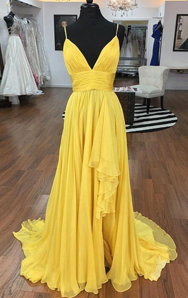 Charming  Yellow Chiffon with Straps Long Prom Dress, Yellow Evening Dress
