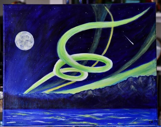 To Infinity!!   16 x 20 Northern Lights Painting of the Talkeetna Mountains,
