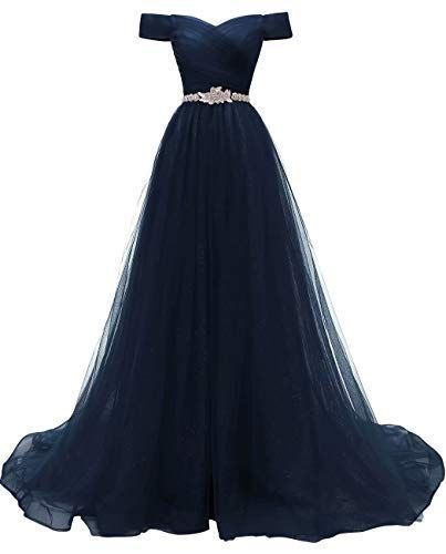 Navy Blue Tulle Beaded Party Dress, A-line Prom Dress
