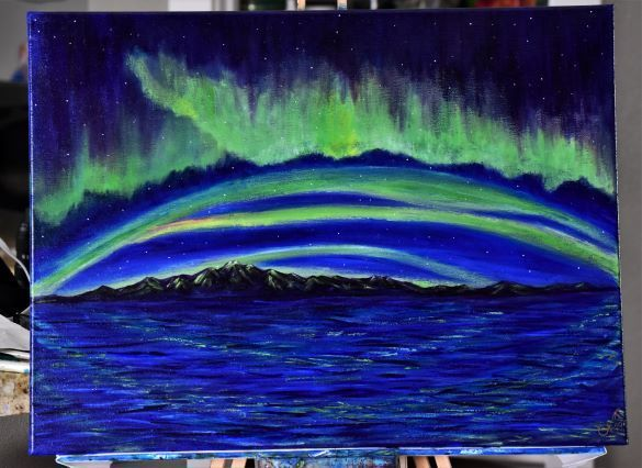 Green Band Rising to The North!  18 x 24 Northern Lights Painting
