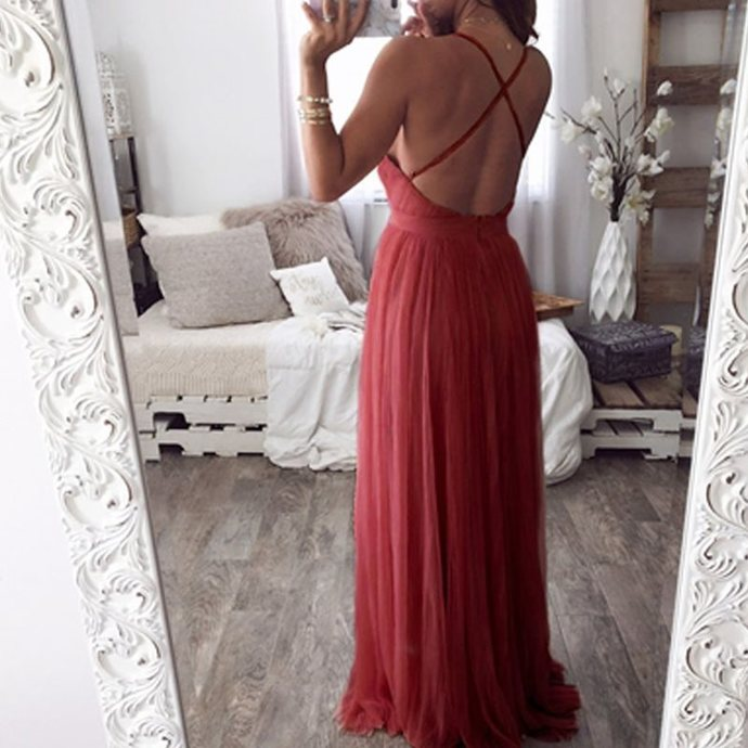 Charming Wine Red Tulle Backless Sexy Prom Dress, Dark Red Evening Gowns
