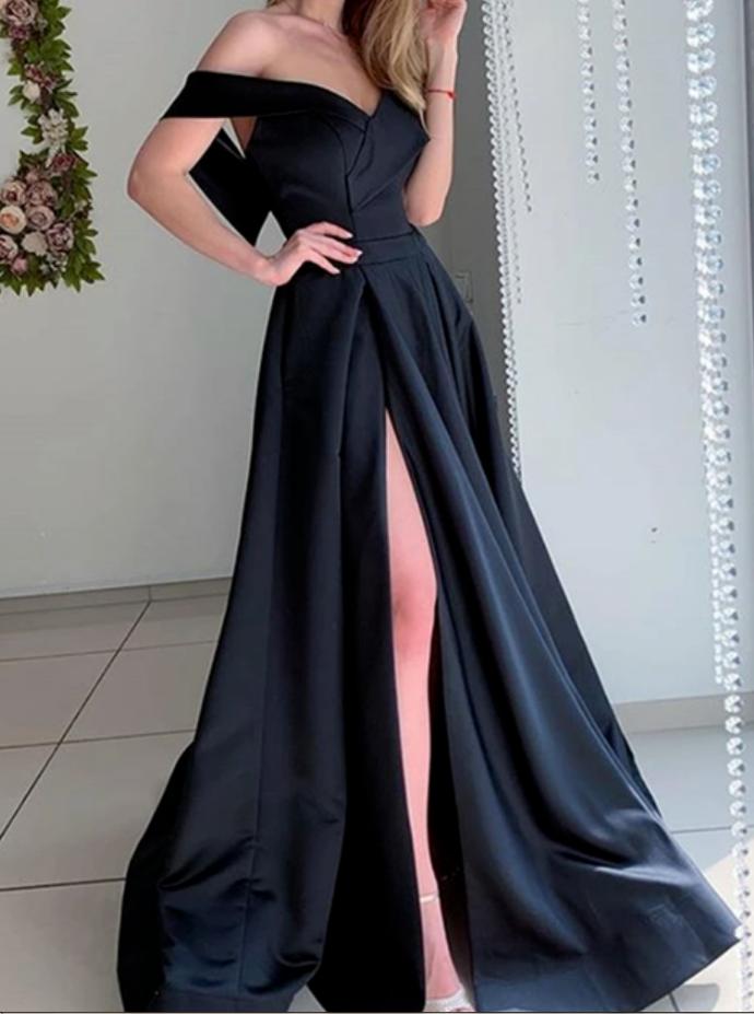 Elegant Off Shoulder Long Prom Dress with High Slit, Off the Shoulder Formal