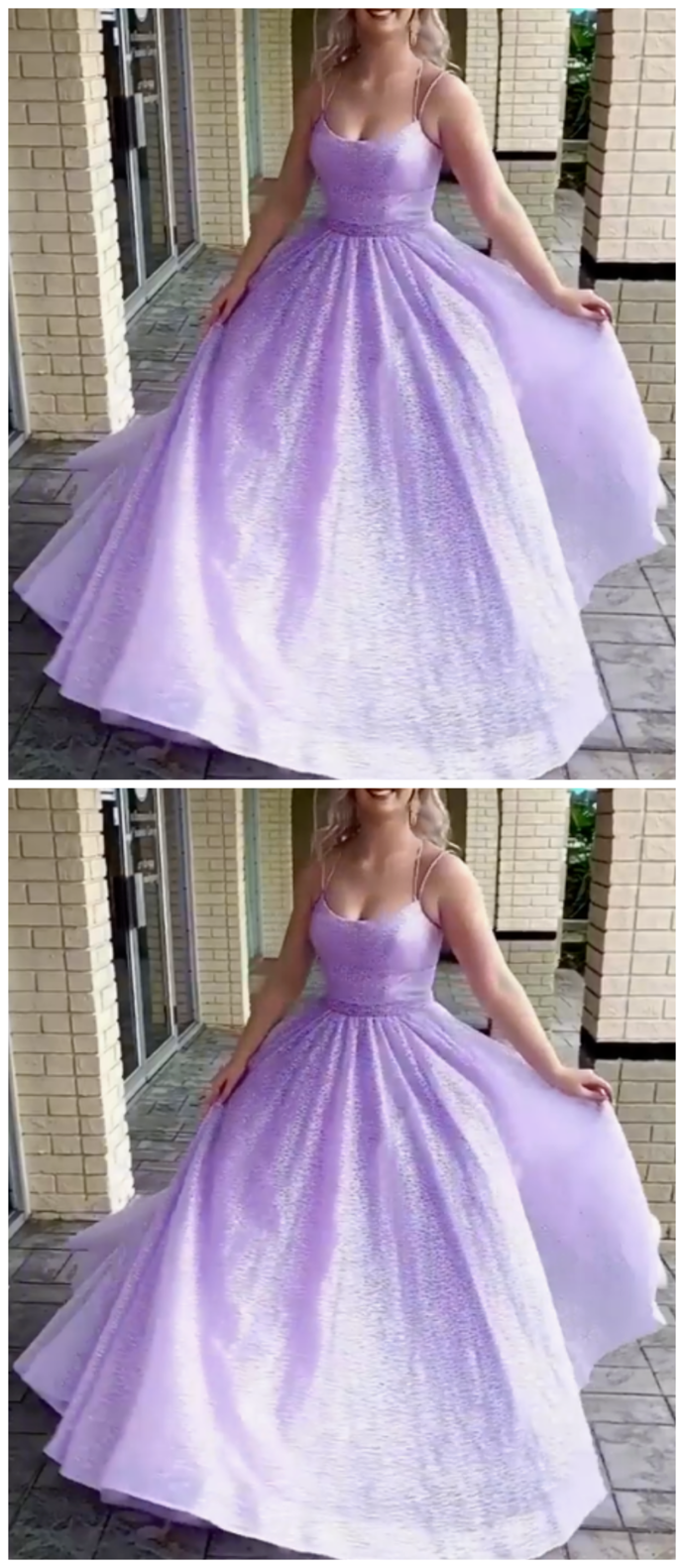 Beautiful A-Line Scoop Neck Lace Prom Evening Dresses with Beading