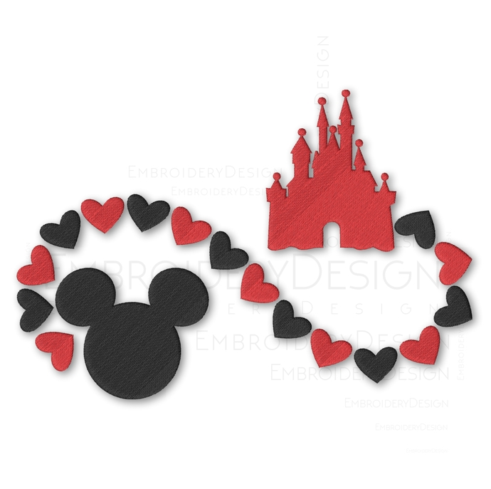 Valentines Day Mickey Mouse disney Embroidery Machine Designs Love Heart Instant