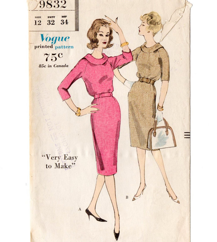 Vogue 9832 Misses Raglan Dress 50s Vintage Sewing Pattern Size 12 Bust 32 Very