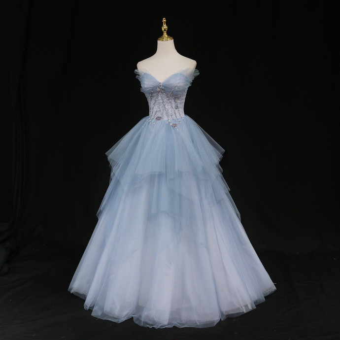 Lovely Blue And Grey Tulle Layers Sweet 16 Dresses, Blue Formal Dresses