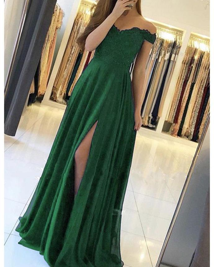 Green Chiffon Off Shoulder Lace Appliqued Girls Long Prom Dress with Slit,