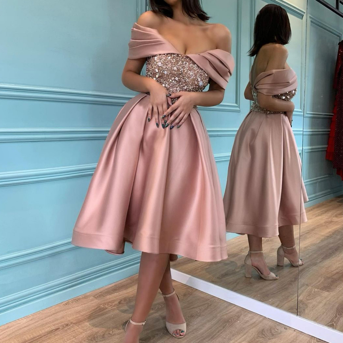 rose pink prom dresses short beaded sparkly satin a line knee length cheap prom