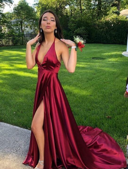 Wine Red Soft Satin Slit Sexy Prom Dress, A-line Backless Formal Dress