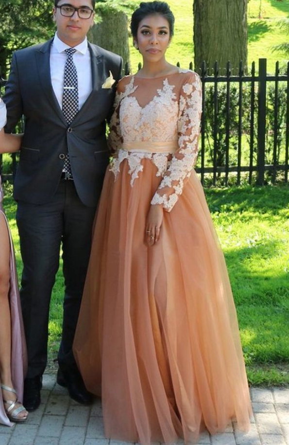 Charming Prom Dress, Long Sleeve Appliques Prom Dresses, Long Evening Dress ,