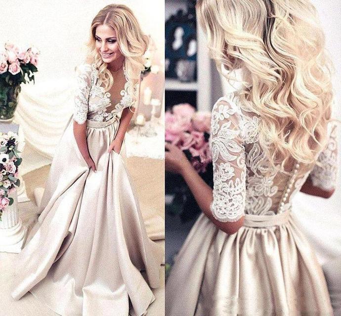gold prom dresses 2021 lace applique elegant a line satin cheap senior prom gown
