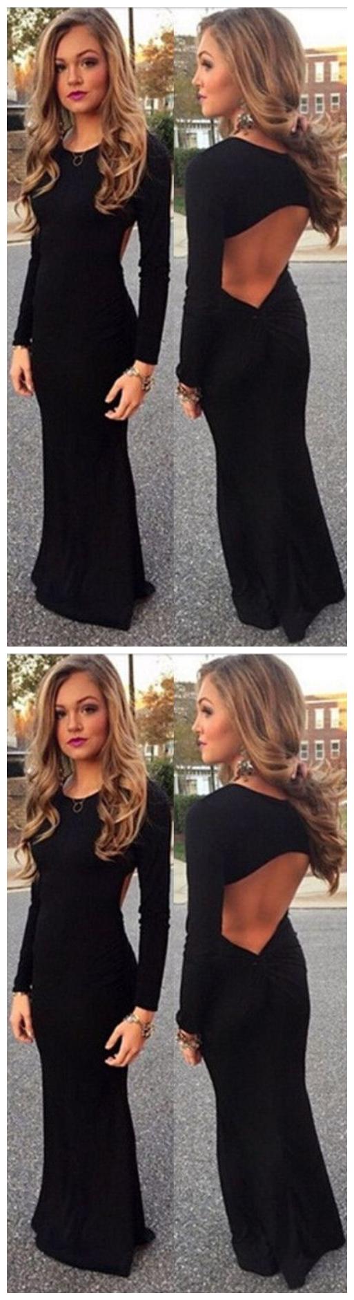 Spandex Prom Dress Sexy Backless Long Prom Dresses Elegant Full Sleeve Scoop