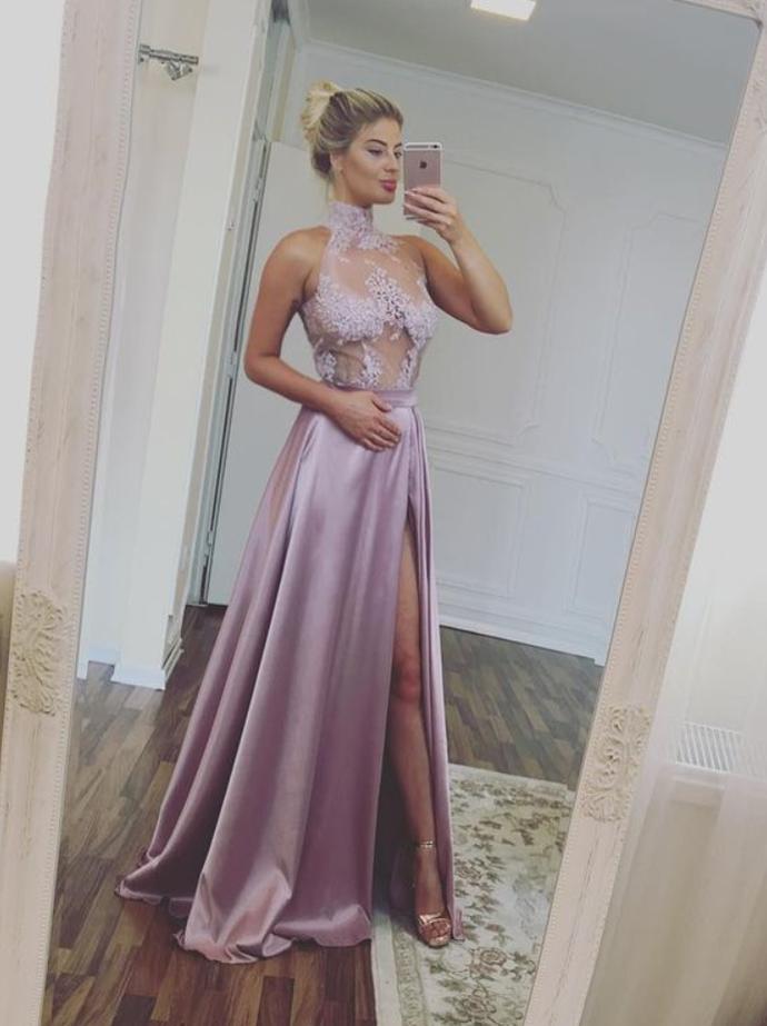 Sexy High Split Prom Dress,High Neck A-line Prom Dresses,Long Evening