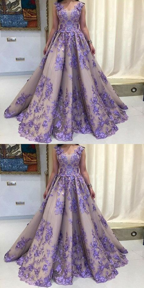 A-Line, Scoop Sleeveless, Lavender Tulle Prom Dress with Appliques, Long Formal