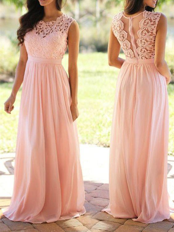pink bridesmaid dresses 2021 Lace Applique a line chiffon cheap elegant custom