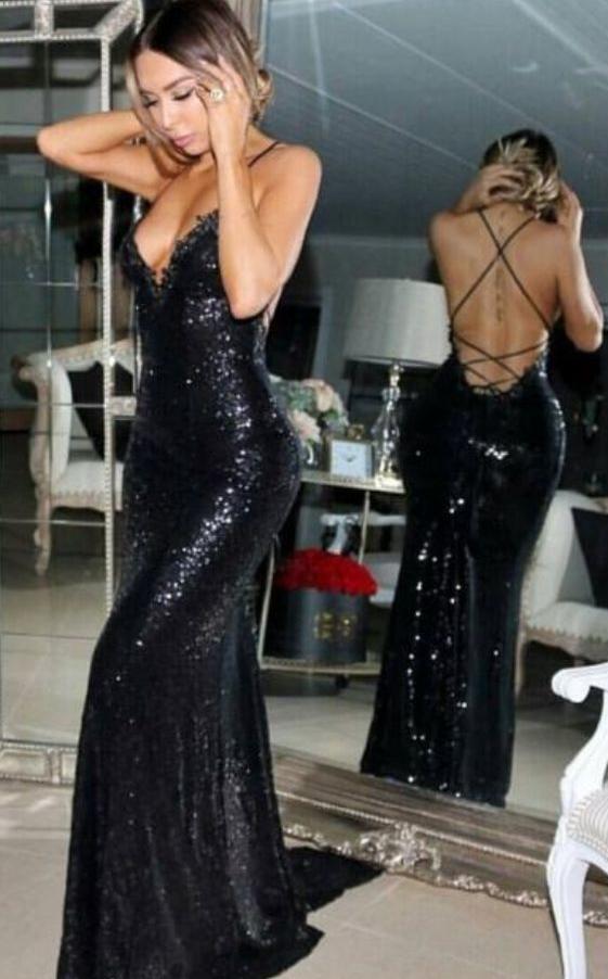 Cheap prom dresses Sexy Mermaid Prom Dress,Sleeveless Sweep Train Black Sequined