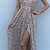 Sparkly Sexy V-neck Sequin Side Slit Long Cheap Prom Dresses