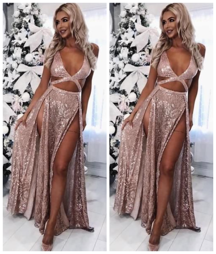 A-Line Sexy Modest Charming  Sequined Prom Dresses with Split