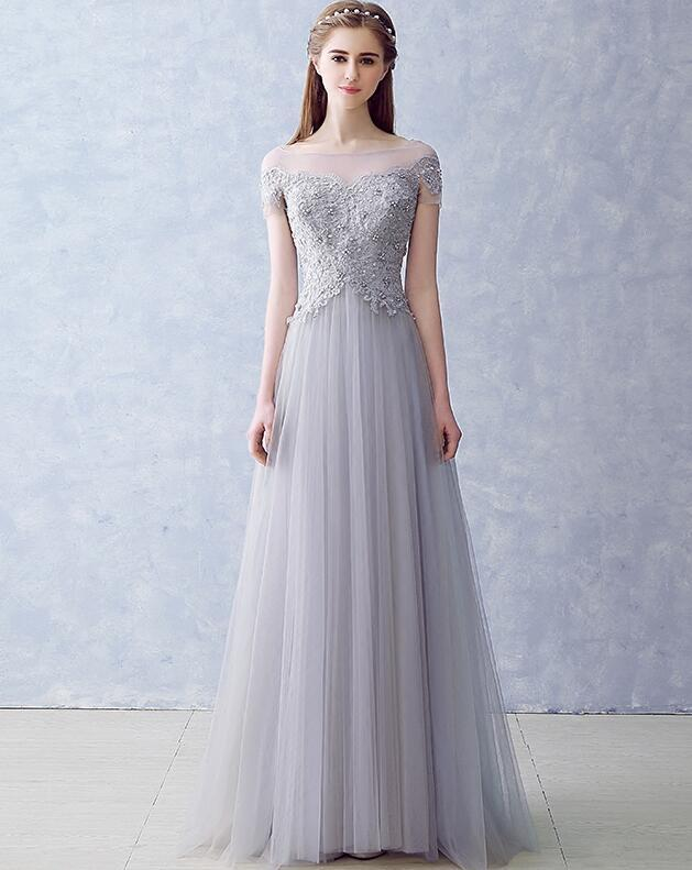 Grey A-line Off Shoulder Tulle with Lace Party Dress, Long Formal Dress