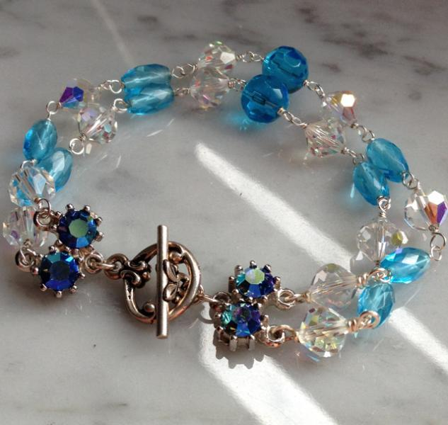 Vintage Swarovski Crystal and Turquoise Glass Bracelet