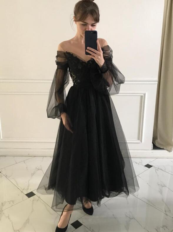 Black Off Shoulder Tulle Long Sleeves Party Dress, V-neckline Prom Dress