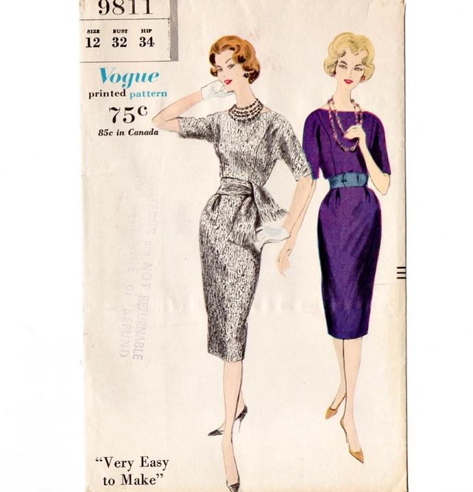 Vogue 9811 Misses Dress, Sash 50s Vintage Sewing Pattern Uncut Size 12 Bust 32