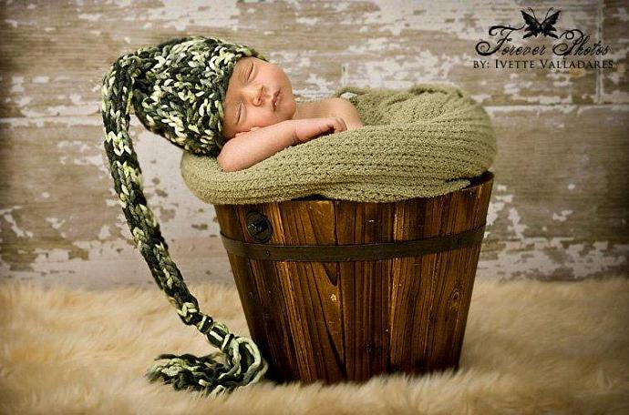 "Newborn Woolly Long Tail Elf Hat in ""Mountain Berry"""