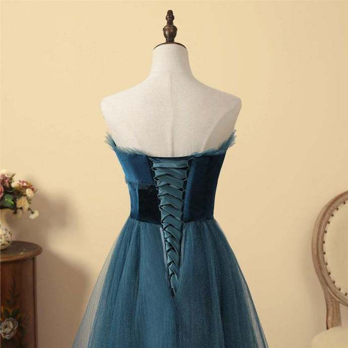 Charming Teal Blue Tulle Long Formal Dress, A-line Sweetheart Party Dress