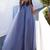 Charming Blue with Lace Applique Long Sleeves Formal Dress, Blue Prom Dress
