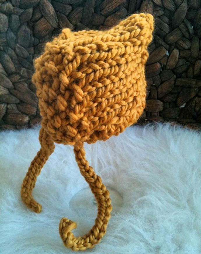 Newborn Woolly  Pixie Bonnet Tegan Collection - Gold Rush
