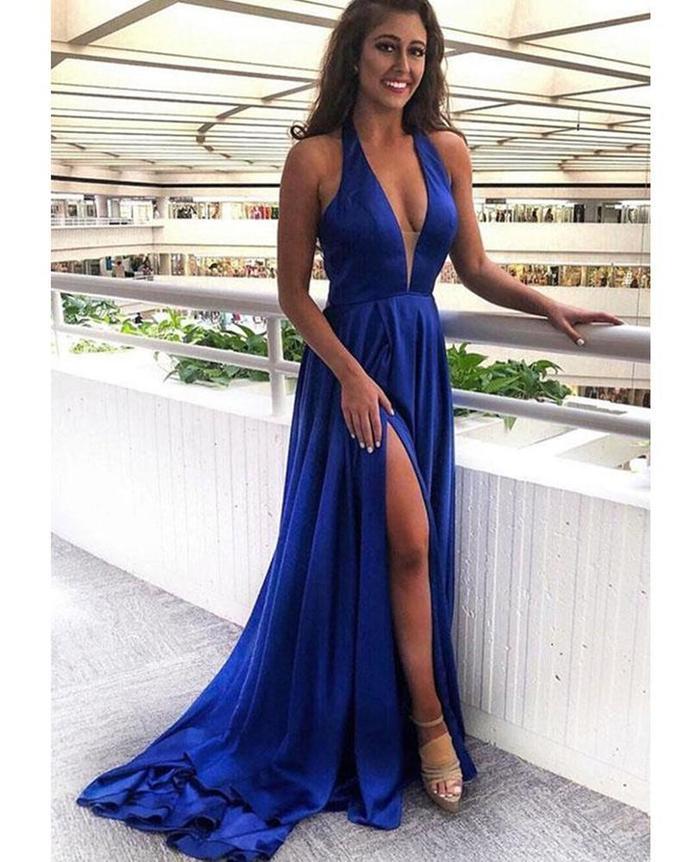 Royal Blue Long Satin Halter Prom Dress with Split ,Sexy V Neck Party Dress