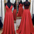 Red Halter Long Slit Simple Party Dress, Red Junior Prom Dress