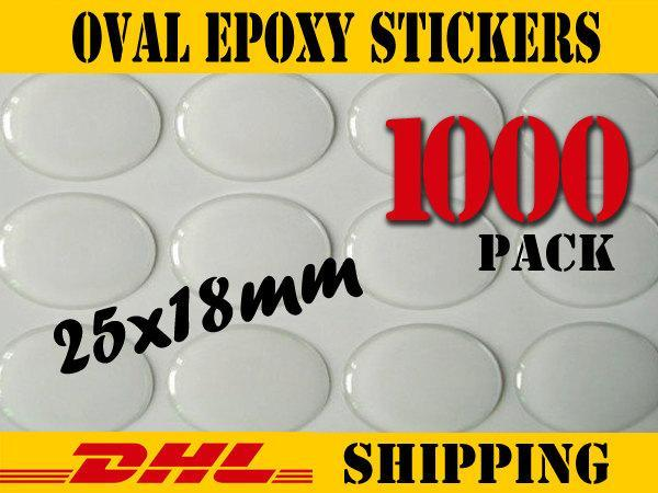 1000 pcs Oval 25x18mm Clear Epoxy Stickers
