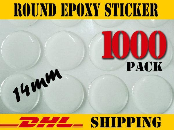 1000 pcs Round 14mm  Clear Epoxy Stickers