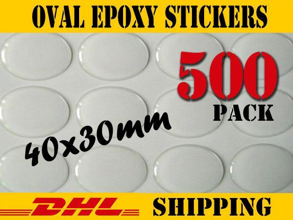 500 pcs Oval 40x30mm Clear Epoxy Stickers